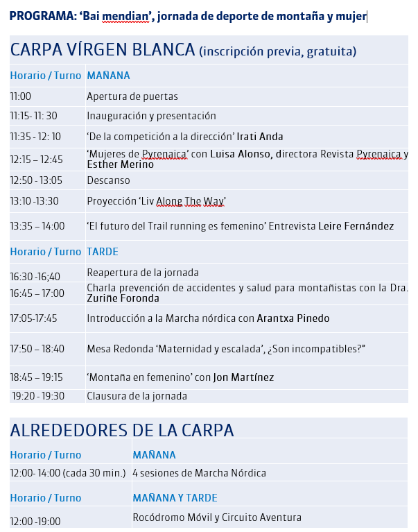 Programa Bai Mendian 2019