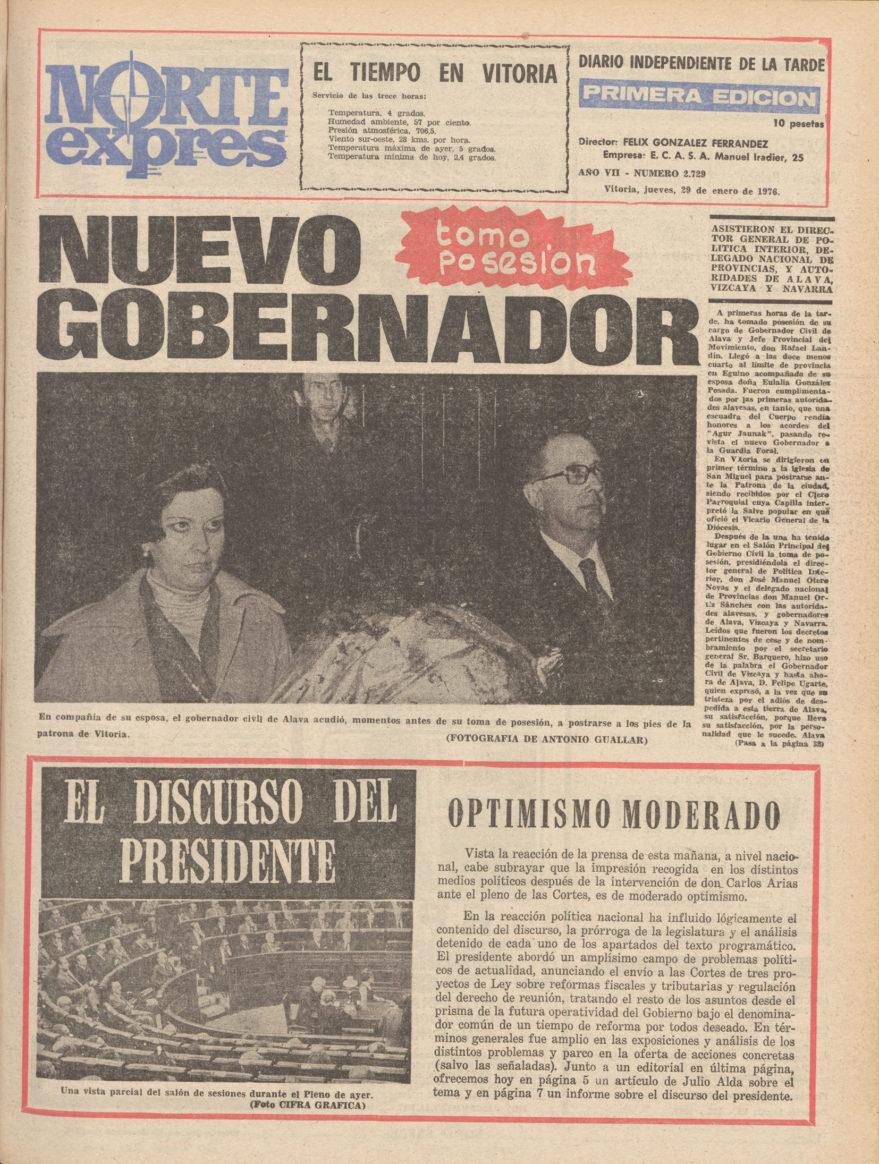 Portada del periódico Norte Exprés del día 29 de enero de 1976 donde se hace eco del nombramiento del nuevo Gobernador Civil de Álava Rafael Landín. Hemeroteca Liburukik.