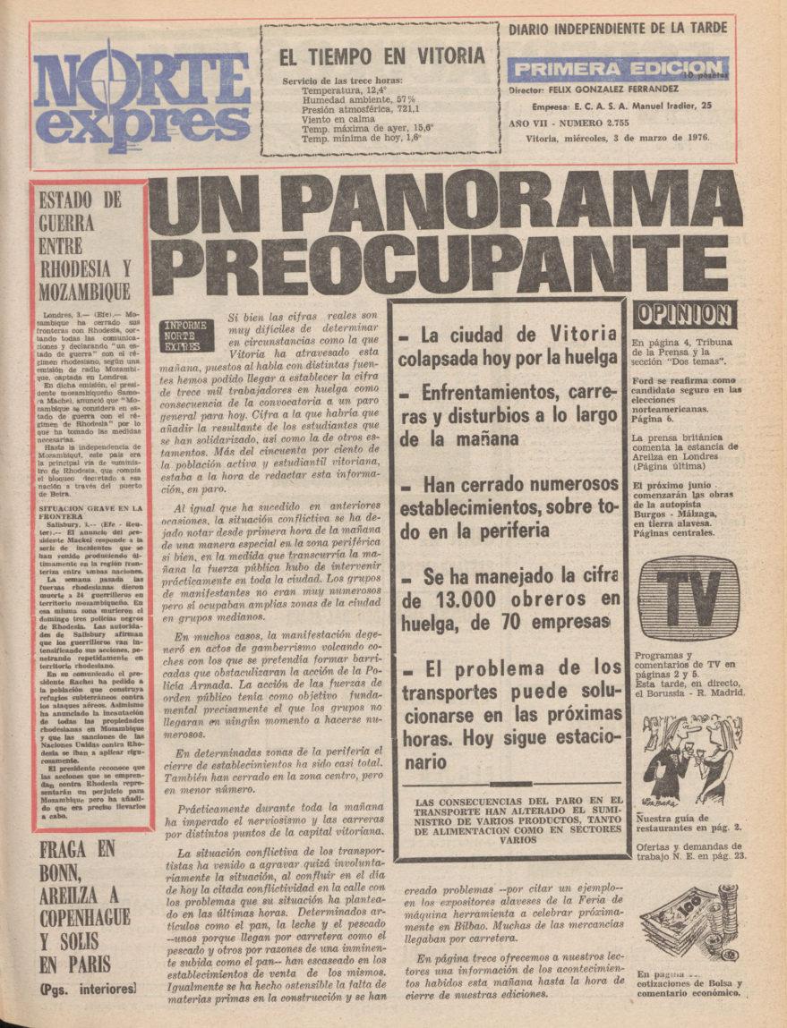Portada del periódico Norte Exprés del día 3 de marzo de 1976 antes de producirse la masacre de la iglesia de San Francisco de Asís. Hemeroteca Liburuklik.