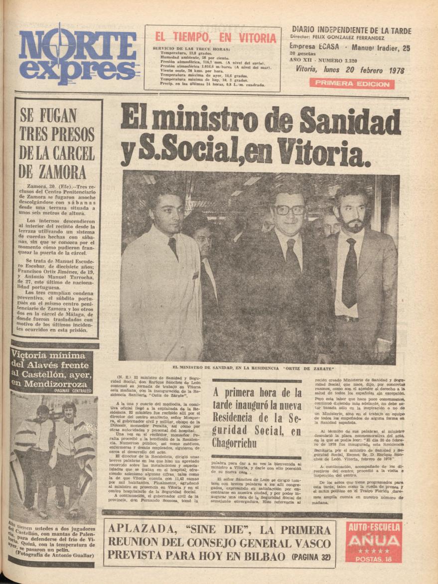 Portada del periódico Norte Expres de 20 de febrero de 1978 con motivo de la inauguración oficial del hospital de Txagorritxu. Hemeroteca Liburuklik.