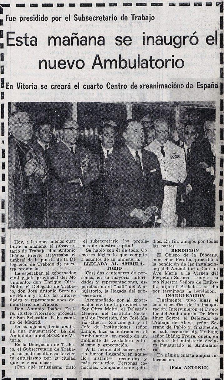 Noticia de la inauguración del ambulatorio de Olaguibel. Pensamiento Alavés de 10/09/1966. Hemeroteca Liburuklik.