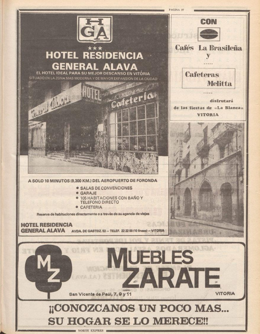 Publicidad del hotel General Álava. Norte Expres del 5/08/1980. Hemeroteca Liburuklik.