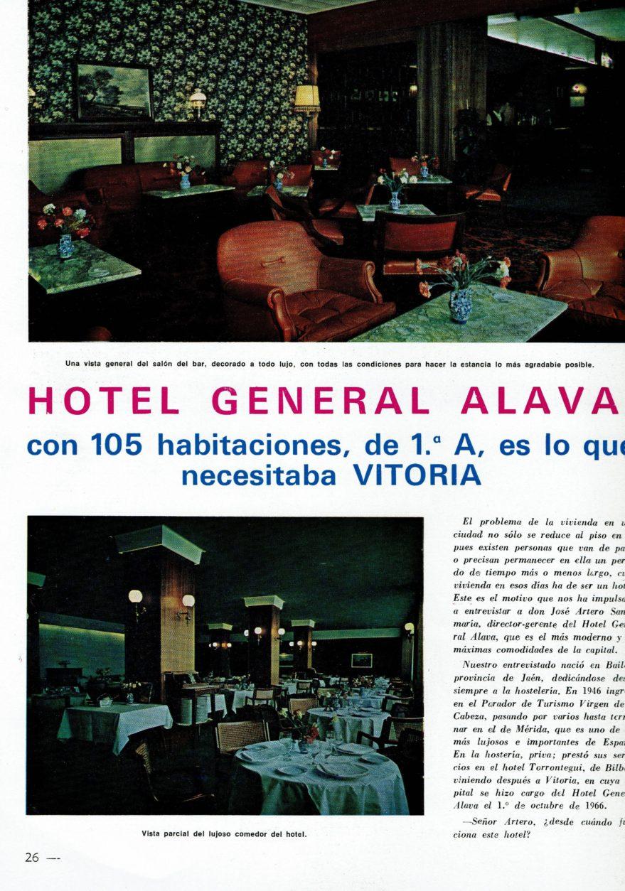 Aspecto interior del hotel General Álava. Revista Construcción de mayo de 1969.
