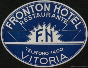 Publicidad del hotel Frontón en Vitoria. Biblioteca Nacional de España.