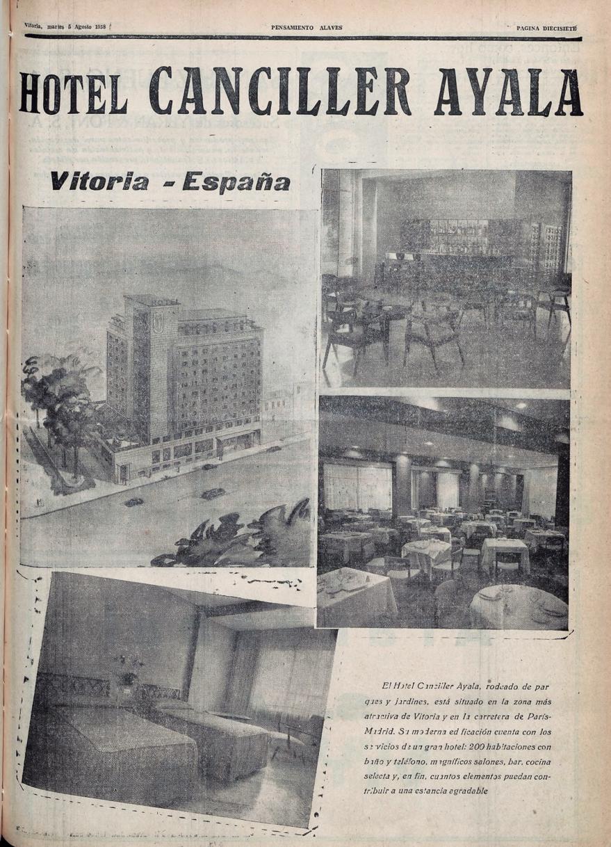 Publicidad del hotel Canciller Ayala. Pensamiento Alavés de 5/08/1958. Hemeroteca Liburuklik.