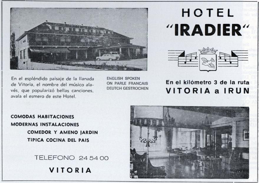 Publicidad del hotel Iradier. Vida Vasca 1981.