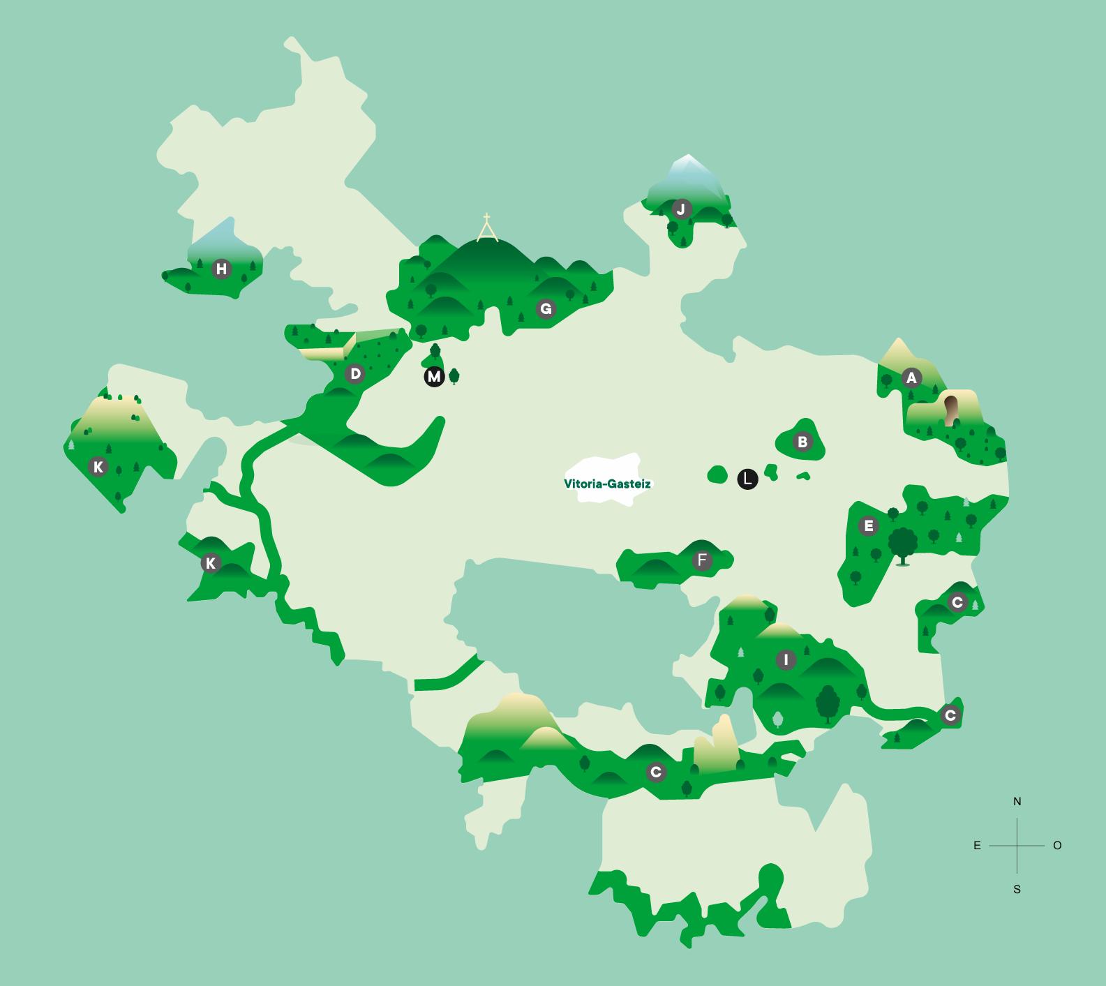 Mapa Montes Red Natura 2000 Álava