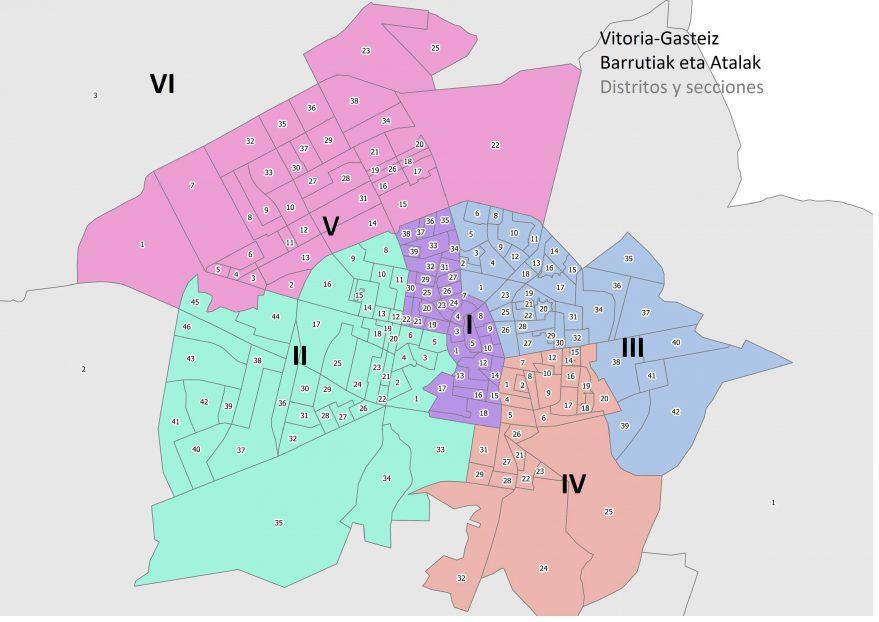 distritos y secciones vitoria