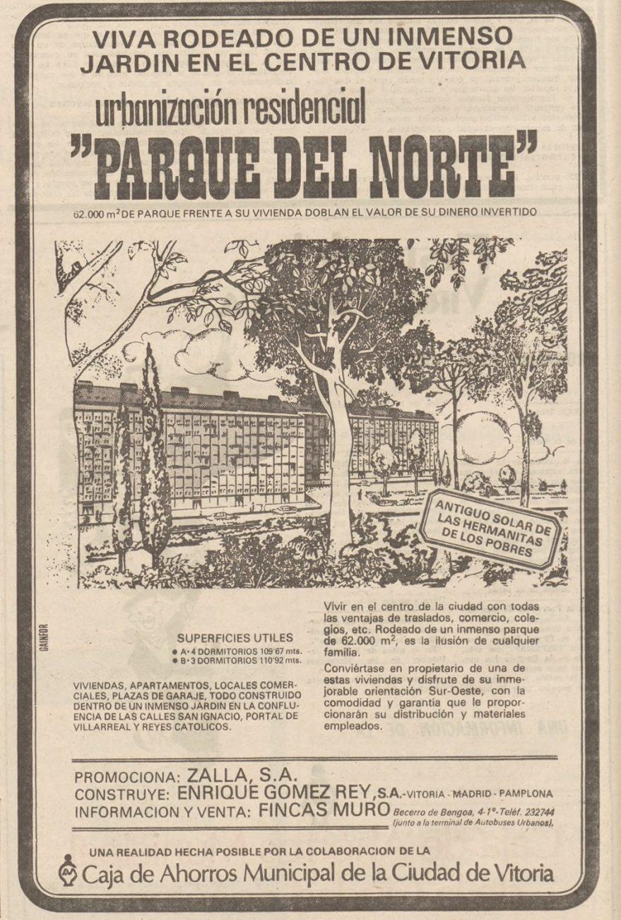 Publicidad de las nuevas construcciones del Parque del Norte. Norte Expres 03-08-1977. Hemeroteca Liburuklik.