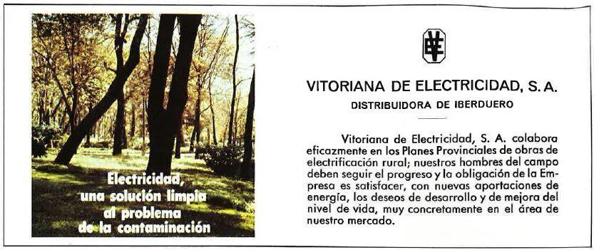 Anuncio Vitoriana de Electricidad en la Revista de fiestas de Vitoria-Gasteiz en 1977.