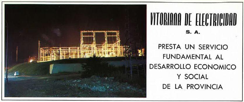 Subestación eléctrica situada en la antigua N-1 a la altura de la clínica Arana. Anuncio de Vitoriana de Electricidad. Revista fiestas Vitoria-Gasteiz 1976.