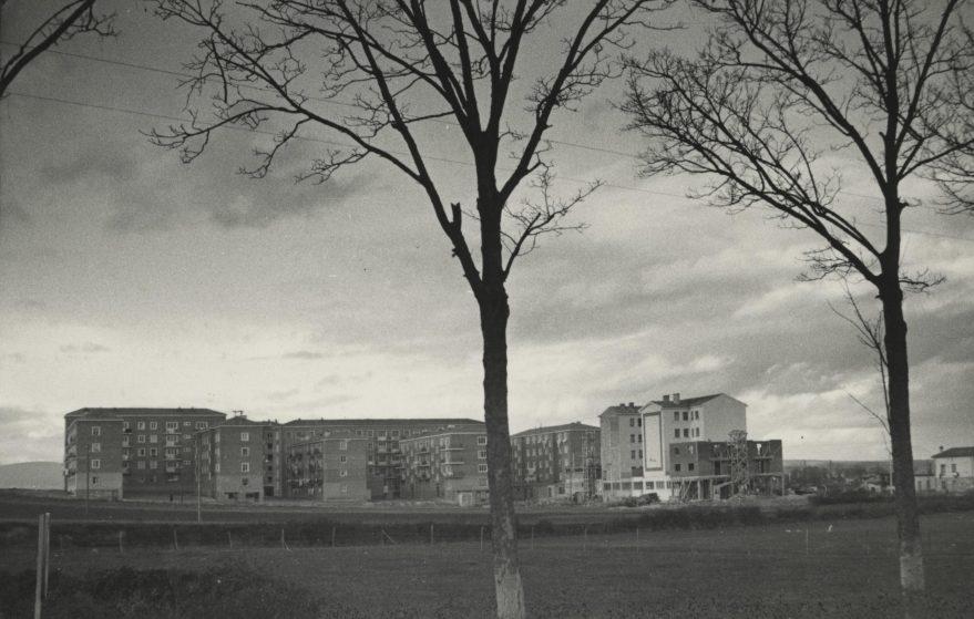 Vista parcial de Ariznabarra en 1960. El barrio de Ariznabarra fue construido fuera de cualquier tipo de ordenación y como otros barrios de similares características se situó a bastante distancia del resto del núcleo urbano de la ciudad.