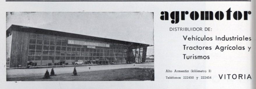 A partir de los años sesenta en el Alto de Armentia irán abriendo buena parte de los concesionarios de la ciudad. Aspecto del antiguo concesionario Barreiros-Chrysler-Simca. Vida Vasca de 1971.
