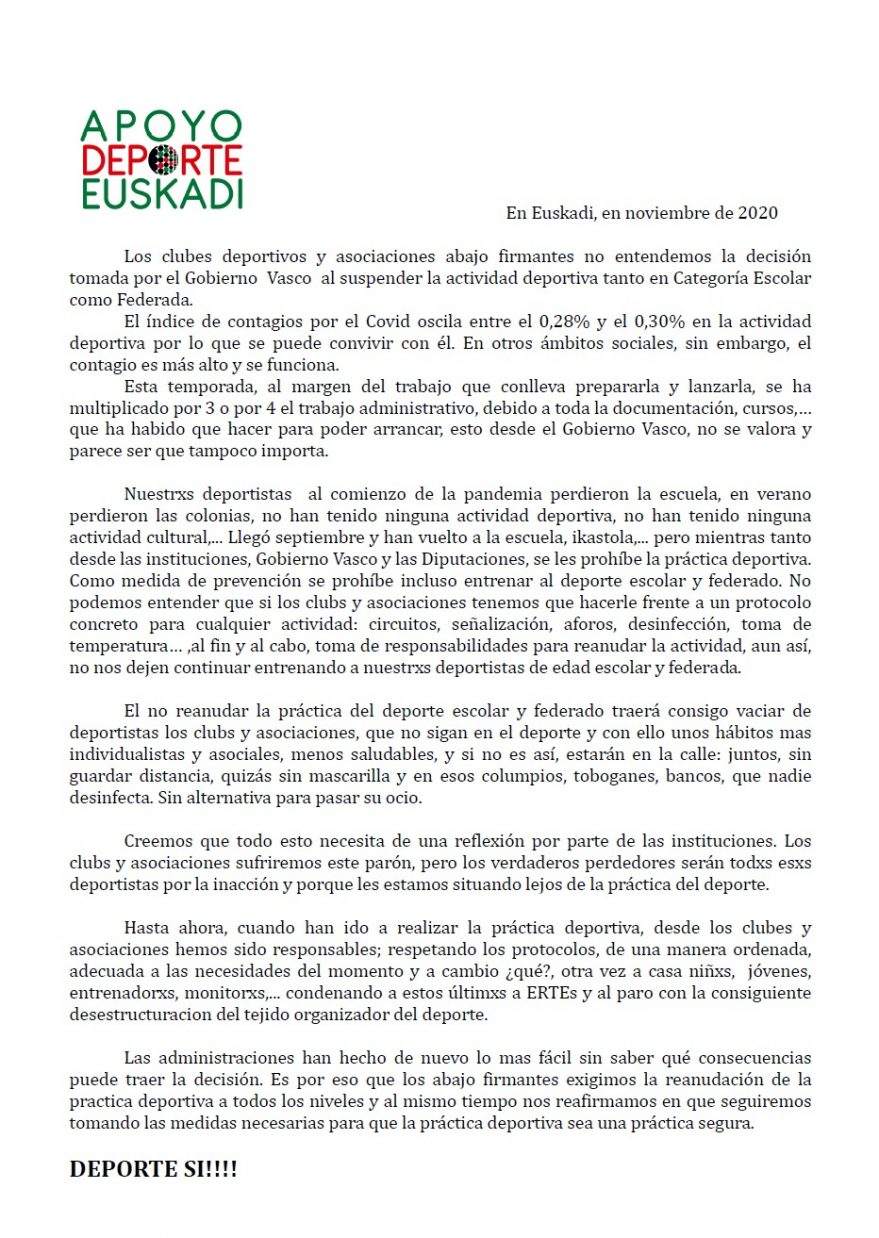 suspension deporte escolar euskadi