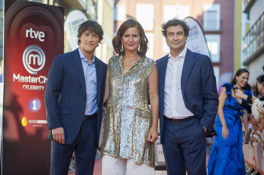 Jordi Cruz, Samantha Vallejo-Nágera y Pepe Rodríguez, jurado de 'Masterchef' en una de sus visitas al FesTVal, de Vitoria-Gasteiz