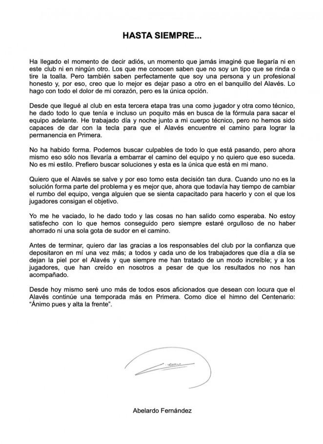 carta despedida abelardo