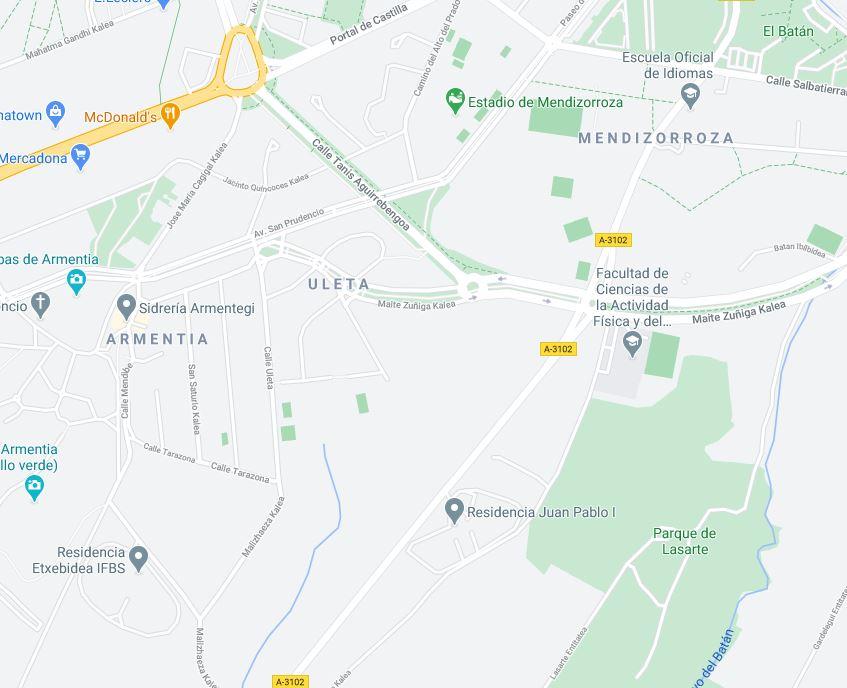 google maps mendizorroza uleta
