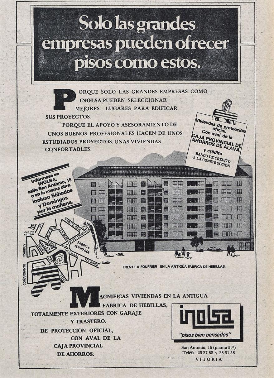 Cartel publicitario de la promoción de viviendas construidas sobre la antigua fábrica de hebillas. Norte Expres de 9-09-1980. Hemeroteca Liburuklik.
