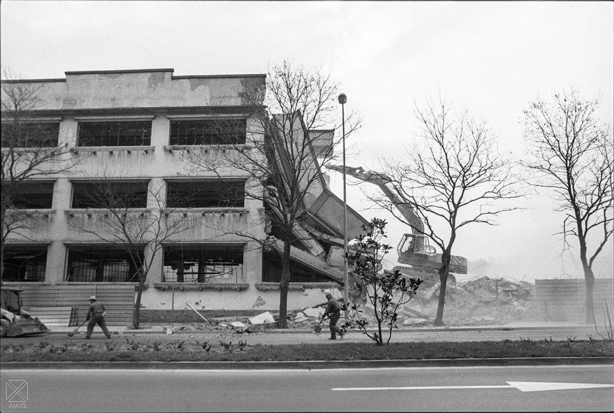 Derribo de la fábrica de Areitio en 1993. Javier Berasaluce. AMVG.