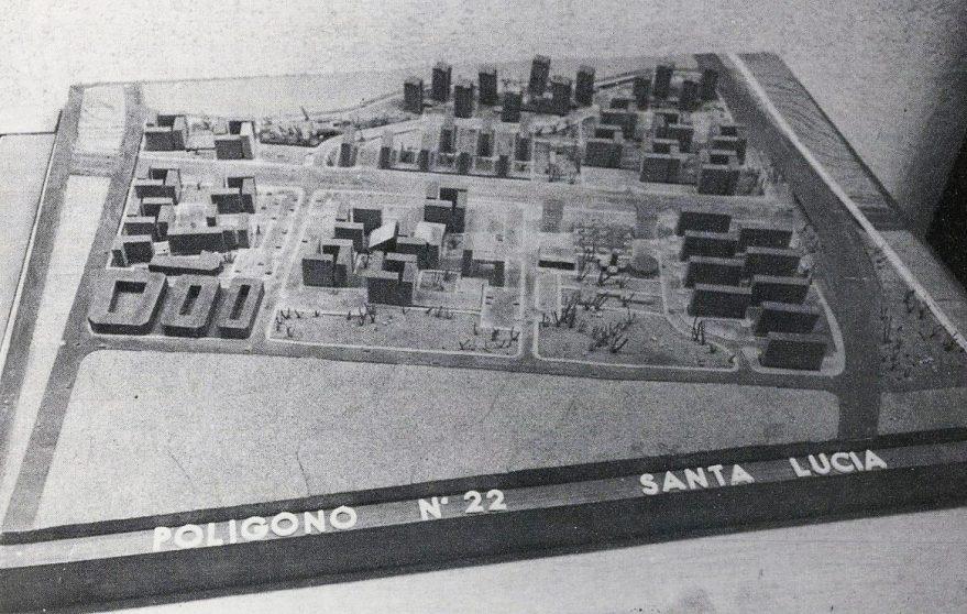 Maqueta del primer proyecto aprobado para el barrio de Santa Lucía. Boletín Municipal de Vitoria-Gasteiz de 1974. Hemeroteca Liburuklik.