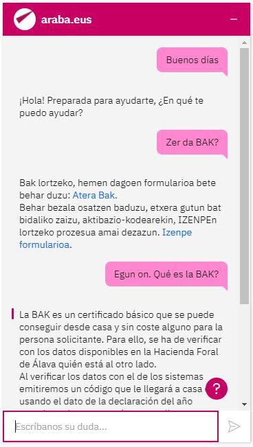chatbot trámites online diputación álava