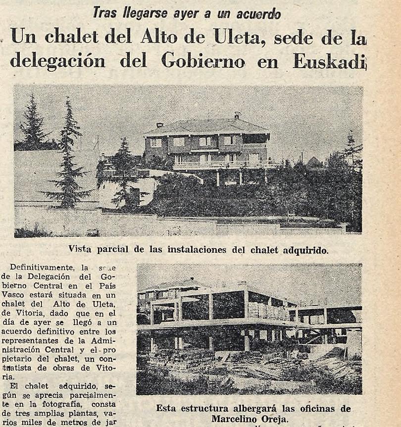 Aspecto de la antigua delegación del Gobierno en Uleta (actualmente desaparecida). Norte Expres de 13 de noviembre d e1980. Hemeroteca Liburuklik.
