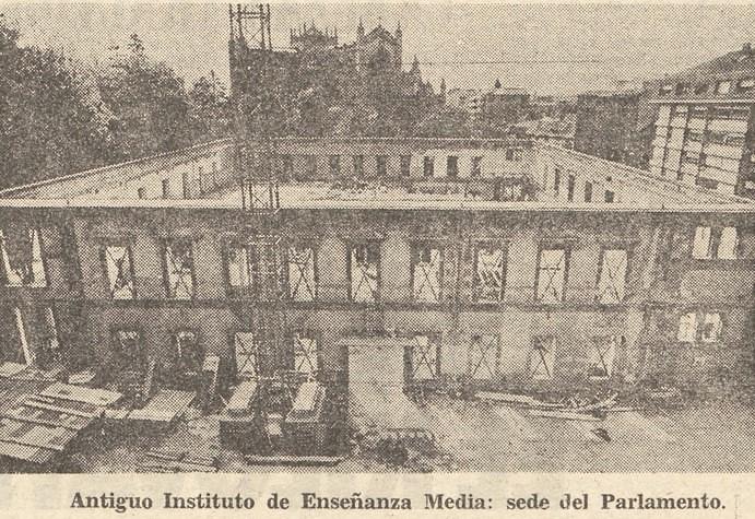 Aspecto del antiguo Instituto de Enseñanza Media vaciado. Norte Expres 28 de mayo de 1980. Hemeroteca Liburuklik.