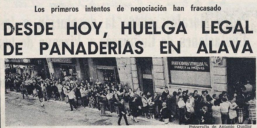 Aspecto de la entrada de la Panificadora Vitoriana en la calle Francia en la portada del periódico Norte Exprés. Periódico Norte Exprés 03/06/1978. Hemeroteca Liburuklik.