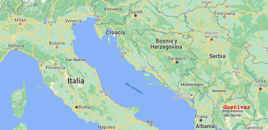 Mapa del periplo baskonista entre Italia y Macedonia del Norte.